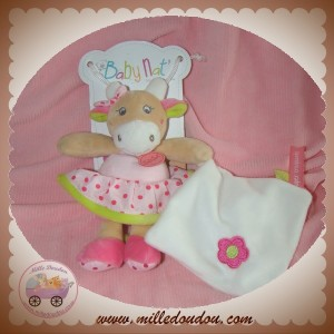 BABYNAT BABY NAT SOS DOUDOU VACHE BEIGE ROBE ROSE MOUCHOIR