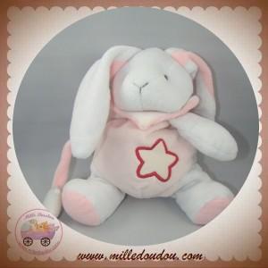 BABYNAT BABY NAT SOS DOUDOU LAPIN BLANC ROSE CLAIR FLUORESCENT ETOILE