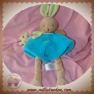DOUDOU ET COMPAGNIE LAPIN GRAFFITIS BEIGE TURQUOISE OURS DC2557