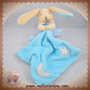 BABYNAT BABY NAT SOS DOUDOU LAPIN BEIGE FLUORESCENT MOUCHOIR BLEU TURQUOISE