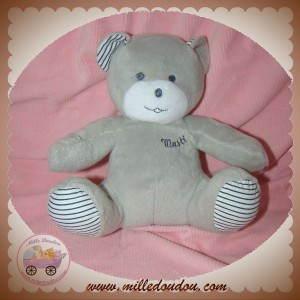 MUSTI MUSTELA SOS DOUDOU OURS PELUCHE GRIS RAYE