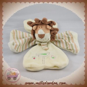 CP INTERNATIONAL SOS DOUDOU LION PLAT TREFLE RAYE BEIGE ECRU OISEAU