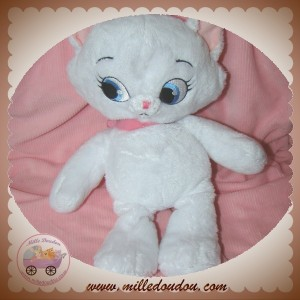DISNEY SOS DOUDOU CHAT MARIE ARISTOCHAT BLANC COLLIER ROSE 30 CM