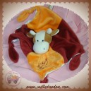 RODADOU SOS DOUDOU GIRAFE VACHE PLAT ROUGE ORANGE ATTACHE TETINE NOEUD