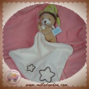 BABYNAT BABY NAT SOS DOUDOU OURS BEIGE FLUORESCENT MOUCHOIR BLANC ETOILE