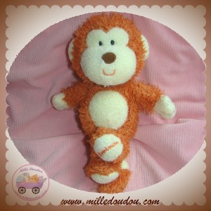 LUMINOU SOS DOUDOU SINGE MARRON ORANGE JAUNE BRODE 25 cm