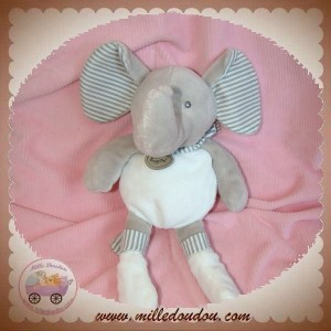 BABYNAT BABY NAT SOS DOUDOU ELEPHANT GRIS BLANC RAYE