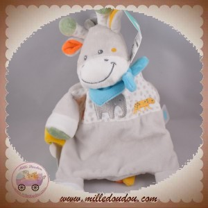 TEX SOS DOUDOU GIRAFE PLAT RECTANGLE GRIS BANDANA BLEU JUNGLE ELEPHANT