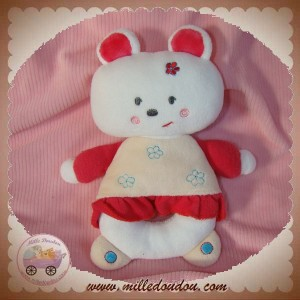 SUCRE D'ORGE SOS DOUDOU OURS BLANC HOCHET CORPS ROSE ROBE FLEURS