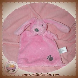 NICOTOY SOS DOUDOU LAPIN PLAT RECTANGLE ROSE EMPREINTE GRISE