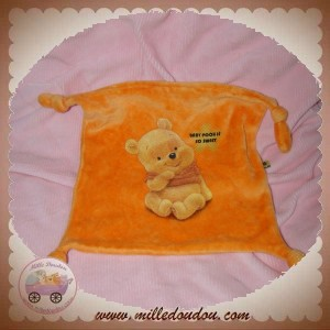 DISNEY SOS DOUDOU MOUCHOIR PLAT ORANGE WINNIE SWEET NOEUD CARREFOUR