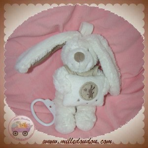 POMMETTE SOS DOUDOU LAPIN BLANC TAUPE CHEMISIER LIN COUSSIN MUSICAL