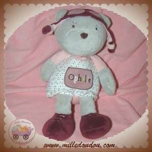 SAUTHON SOS DOUDOU OURS OPHELIE AVIATRICE GRIS ROSE