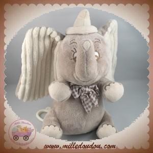 NICOTOY SOS DOUDOU ELEPHANT DUMBO GRIS BILLES MUSICAL DISNEY
