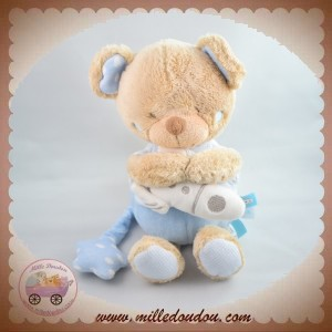 TEX SOS DOUDOU OURS BEIGE CORPS BLEU FUSEE MUSICAL