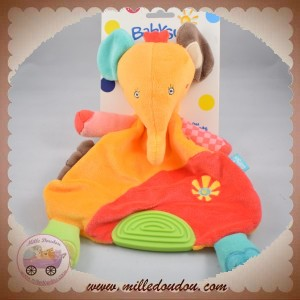 BABYSUN BABY SUN SOS DOUDOU ELEPHANT SAFARI PLAT ORANGE ROUGE FLEUR DENTITION VERT