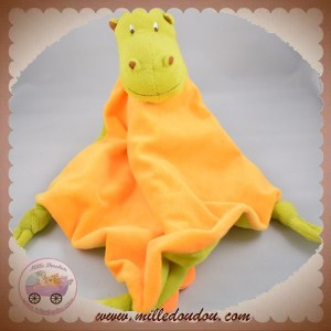 CARRE BLANC SOS DOUDOU DRAGON VERT PLAT ORANGE NOEUD