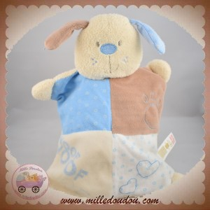 LITTLE BUNDLE SOS DOUDOU LAPIN CHIEN QUASI PLAT MARRON BLEU