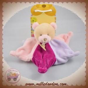 BABYNAT BABY NAT DOUDOU OURS PLAT ETOILE VIOLET MAUVE ROSE