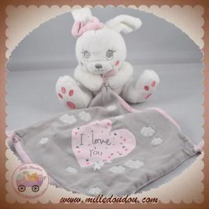 SIMBA NICOTOY SOS DOUDOU LAPIN BLANC MOUCHOIR GRIS ROSE I LOVE YOU