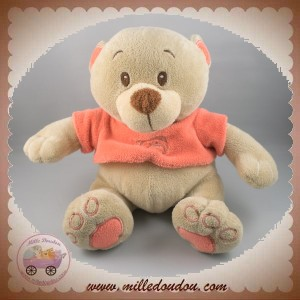 DIVERS SOS DOUDOU OURS BEIGE PULL ORANGE DOUKIDOU KIMBALOO
