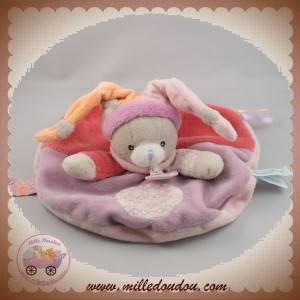 BABYNAT BABY NAT SOS DOUDOU CHAT GRIS PLAT ROND ROSE VIOLET