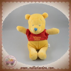DISNEY DOUDOU OURS WINNIE L'OURSON JAUNE PULL ROUGE