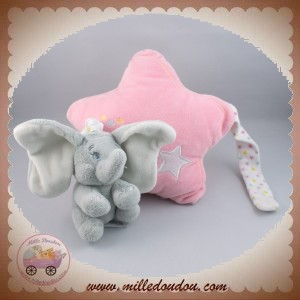 DISNEY SOS NICOTOY SOS DOUDOU ELEPHANT DUMBO GRIS ETOILE ROSE MUSICAL