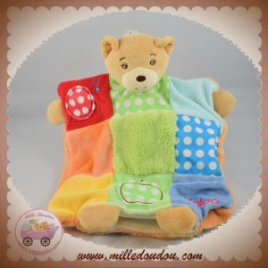 KALOO SOS DOUDOU OURS MARIONNETTE COLORS BLEU ROUGE ORANGE POMME