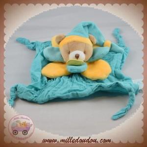 BABYNAT BABY NAT SOS DOUDOU OURS PLAT TISSU LANGE VERT COLERETTE JAUNE