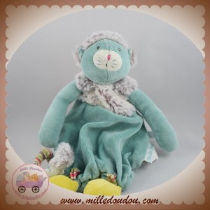 MOULIN ROTY SOS DOUDOU CHAT PLAT CHACHA GRIS POILS VERT VELOURS LES PACHATS