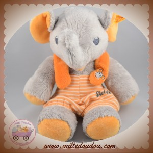 STEIFF SOS DOUDOU ELEPHANT GRIS SALOPETTE ORANGE