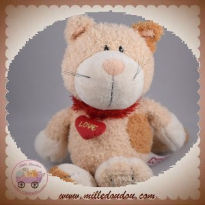 NICI SOS DOUDOU CHAT ECRU BEIGE MARRON COEUR ROUGE LOVE
