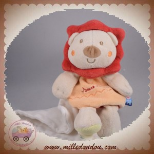 SUCRE D'ORGE SOS DOUDOU LION BEIGE CORPS ORANGE MOUCHOIR
