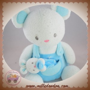 LUMINOU SOS DOUDOU SOURIS OURS FLUORESCENT SALOPETTE BLEU