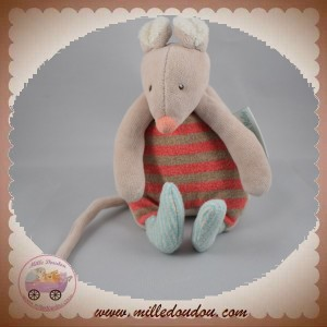 MOULIN ROTY SOS DOUDOU SOURIS OURS BEIGE HOCHET RAYE ROUGE BISCOTTE POMPON