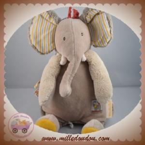 MOULIN ROTY SOS DOUDOU ELEPHANT BEIGE JAUNE LES PAPOUM 28 CM