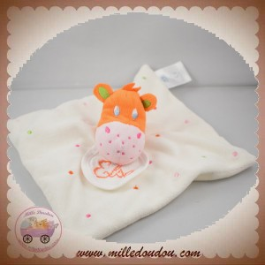 DMC SOS DOUDOU GIRAFE ORANGE PLAT BLANC POIS ROSE