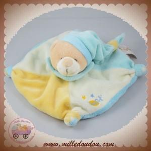 BABYNAT BABY NAT SOS DOUDOU OURS BEIGE PLAT CARRE ECRU JAUNE BLEU ETOILES