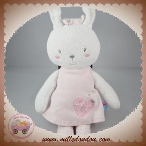 SUCRE D'ORGE SOS DOUDOU LAPIN BLANC ROBE ROSE COEUR