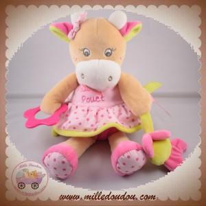 BABYNAT BABY NAT SOS DOUDOU VACHE ROBE ROSE MOUCHOIR COQUILLETTE ACTIVITE