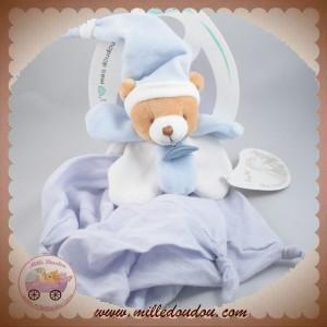 BABYNAT BABY NAT SOS DOUDOU OURS PLAT TISSU LANGE BLEU BLANC BN030