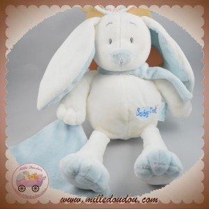 BABYNAT BABY NAT SOS DOUDOU LAPIN CHIEN BLANC BLEU MOUCHOIR BN778