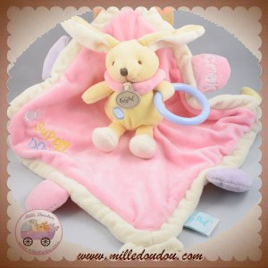 BABYNAT BABY NAT SOS DOUDOU LAPIN JAUNE MOUCHOIR PLAT ROSE EVEIL SUPER DOUDOU