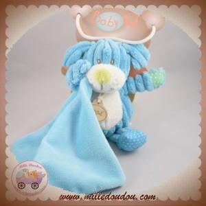 BABYNAT BABY NAT SOS DOUDOU CHIEN BLEU COTELES MOUCHOIR BN735