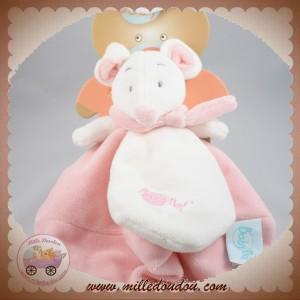 BABYNAT BABY NAT SOS DOUDOU SOURIS BLANCHE PLAT ROSE DOUCEUR