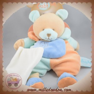 BABYNAT BABY NAT SOS DOUDOU OURS BEIGE CORPS BLEU ORANGE TURQUOISE MOUCHOIR