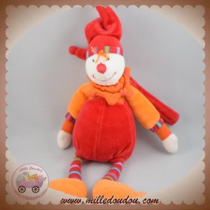 MOULIN ROTY SOS DOUDOU CLOWN DRAGOBERT CAPUCIN ROUGE LIEN 20 CM