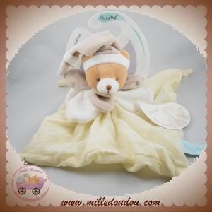 BABYNAT BABY NAT SOS DOUDOU OURS PLAT TISSU LANGE BEIGE BLANC BN030