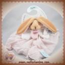 BABYNAT BABY NAT SOS DOUDOU LAPIN PLAT TISSU LANGE ROSE BLANC BN030
